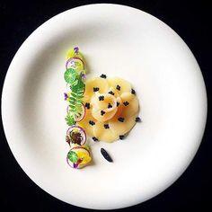 Scallop Sashimi by Tadashi Takayama. Gourmet Appetizers, Gourmet Recipes, Chefs, Michelin Star Food, Food Decoration, Recipe Images, Molecular Gastronomy, Sashimi, Antipasto