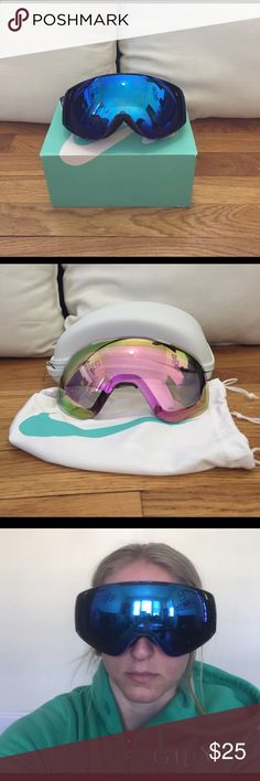 Nike ski/snowboard goggles Never worn, in original packaging Nike ski goggles. Rose detailing on the band. Come with dust bag, protective case, and second pair of lenses in pink. Nike Other