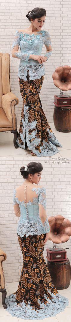 Kebaya dengan padanan rok batik bordir (IG @ratukebaya_medan)