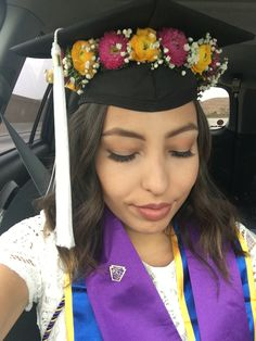 Graduation cap flower crown grad cap
