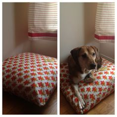 DIY Dog bed made with fabric and old pillows. Make a giant pillow cover, then stuff with old pillows from your bed.