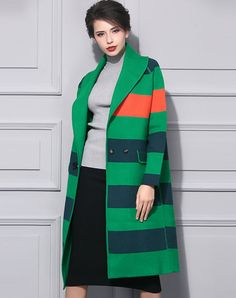 Green Stripe Turndown Collar Front Open Long Coat I found this beautiful item on VIPme.com.Check it out!