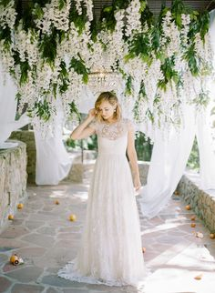 #lace, #fashion, #dress, #cap-sleeves, #a-line, #illusion-neckline  Photography: Rebecca Yale Photography - rebeccayalephotography.com Wedding Dress: Monique Lhuillier - www.moniquelhuillier.com Floral Design: Celadon And Celery - celadoncelery.com