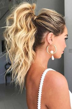 9 Glamorous Summer Ponytail Hairstyles for 2019 : You Must Try it! If you want only a glamorous look with your ponytail hairstyle, you can get any better option you like, but if you want to get a new look with glamorous looking in this upcoming summer, th Prom Ponytail Hairstyles, Ponytail Updo, Wedding Hairstyles, Hairstyle Ideas, Cute Messy Hairstyles, Semi Formal Hairstyles, Ponytail Ideas, Blonde Ponytail, Braided Hairstyles