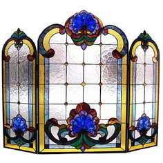 Chloe Victorian Stained Glass Fireplace Screen (€185) ❤ liked on Polyvore featuring home, home decor, fireplace accessories, blue, blue stained glass, fire place screen, victorian stained glass, fire-place screen and floral home decor