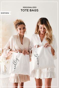 Bridesmaid Gifts, Bridesmaids, Vertical Text, Bridal Party Getting Ready, Wedding Planning, Wedding Ideas, Personalized Tote Bags, Maid Of Honor, Cute Gifts