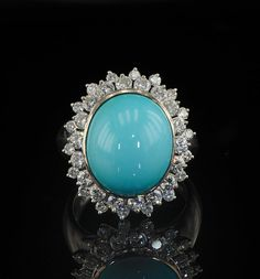 Luxury Persian turquoise and diamond vintage ring