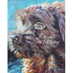 Art Tableau Chien Coco 20x16 Bleu Turquoise, Marie, Images, Lion Sculpture, Illustration, Statue, Boutique, Dogs, Prints