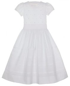 NEW Will'Beth White Batiste Pintucked Dress with Embroidered Flowers, Pearl Beading and Fagoted Trim $135.00