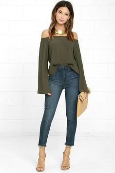 487d160091cc Gentle Stream Olive Green Off-the-Shoulder Top