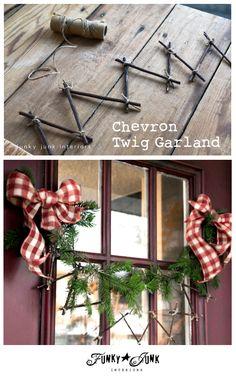 Day 9: Create a chevron twig garland! via Funky Junk Interiors #12daysofchristmas