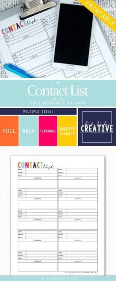 Free printable Contact list planner insert. Available in multiple sizes including Full page, half page, personal size and Happy Planner sizes.