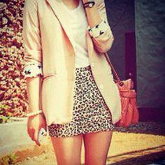 How to wear: Cheetah skirt (With short khaki blazer)
