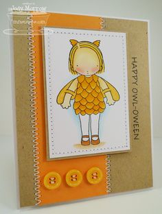 Love this card by Jody Morrow featuring the Owl Costume Pure Innocence stamp set from MFT