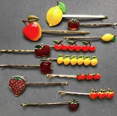 Vintage FRUIT Bobby Pins / Hair slides Apples, Cherries, Lemons, Straw – The Swagmans Daughter My Childhood Memories, Childhood Toys, Sweet Memories, Nostalgia, Retro, Bobby Pin Hairstyles, Hair Slide, Fashion Mode, My Memory