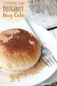 Cinnamon Sugar Doughnut Mug Cake - This delicious mug cake literally takes about 60 seconds to make in the microwave. It tastes just like a cinnamon sugar doughnut!