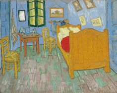 Vincent van Gogh (1853-1890), De slaapkamer/The bedroom, 1889, The Art Institute of Chicago ~ view Van Gogh's bedroom from 1888 and then his 1889 painting side by side