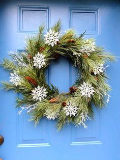 Winter Wreath Greens and Snowflakes