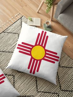 New Mexico Flag Symbol Patriotic Red Sun. Great gifts for New Mexico patriots. • Millions of unique designs by independent artists. Find your thing. Throw Pillows Bed, Bed Throws, Floor Pillows, Decorative Throw Pillows, Cushion Covers, Pillow Covers, New Mexico Flag, Red Sun, Block Wall