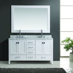 "Design Element 60"" London Hyde Double Sink Vanity Set in White, Espresso or Gray - DEC082A"