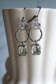 Vintage assemblage earrings french cut steel vintage rhinestone charms rhinestone drops assemblage jewelry- by French Feather Designs.