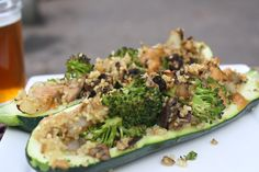 Stuffed Zucchini with Creamy Peanut Lime Sauce [Dishing Up the Dirt]