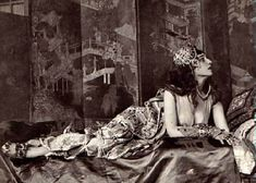 Ida Rubinstein as Zobeide in Scheherazade, 1910. Written by Alexandre Benois. Music by Rimsky-Korsakov. Choreography by Mikhail Fokine. Costumes and set design by Léon Bakst. Produced by Serge Diaghilev.