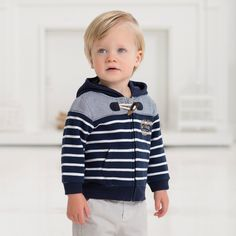 Stripped Cotton Hoody - Sweaters & Cardigans - Boys | Dave Bella Kids Clothes