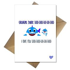 Funny Grandpa Shark Fathers Day Card - for Grandad from the Baby Shark song! Shark Craft, Baby Shark Song, Funny Fathers Day Card, A Funny, A5, Card Stock, Greeting Cards, Love You, Mamma Mia