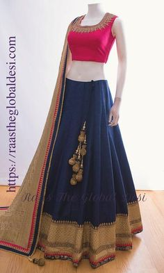 LEHENGA ONLINE USA Silk Chania with designer brocade blouse and contrast dupatta