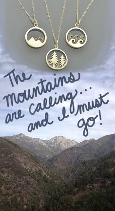 The mountains are calling and I must go! This Wanderlust Necklace Set is the perfect gift for that nature explorer in your life.