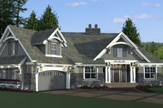 Craftsman Style House Plan - 4 Beds 3 Baths 2341 Sq/Ft Plan #51-573 Exterior - Front Elevation - Houseplans.com