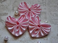 6 light pink satin heart fabric yoyos by pinksnpurple on Etsy, $4.25