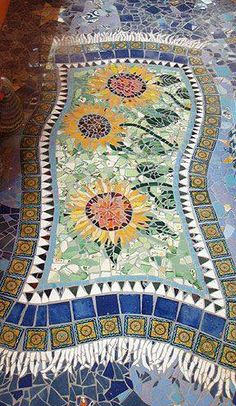 mosaic sunflower rug photo from fbook page Backroad Discoveries
