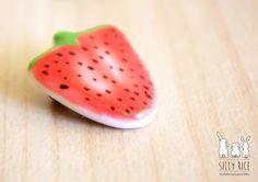 Handmade ceramic strawberry brooch by SillyRice on Etsy, £8.00
