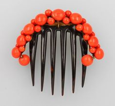 Lot:Hair comb with coral, Italy approx. 1880s, Lot Number:645, Starting Bid: €240, Auctioneer:Henry's Auktionshaus AG, Auction:Diamonds&gemstones, antique jewellery&silver, Date:02:00 AM PT - Jun 30th, 2016