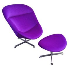 Lounge Chair with Ottoman  :  Rohe Noordwolde.  Rare purple mohair fabric. Modern.  Netherlands   c1970