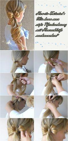 seitlicher Pferdeschwanz Zopf mit Haarschleife Frisuren Anleitung mit Extensions