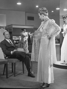 Model Displaying Lingerie for Male Customer at Nieman Marcus Department Store, circa 1940s-1950s