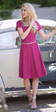 Modest Ivy Dress (Magenta) – ModestPop.com - It's our bestselling Ivy Dress in a new color. Dress up with heels, or dress down with sneakers. Knee length, classy and fun.