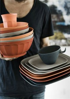 orange bamboo tableware from Nordal