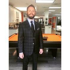 Josh Teeple looking sharp in his new b.spoke suit made with Ariston fabric. This suit has black suede elbow patches as well. Transitions to a sportcoat as well. #bspoke #ariston #complimentwaittingtohappen