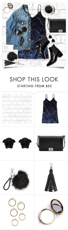 """First impressions"" by brynhawbaker ❤ liked on Polyvore featuring Tempaper, Hollister Co., Versace, Chanel, Belkin and Odeme"