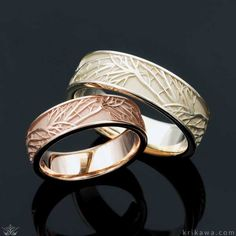 Tree of Life Wedding Set pictured in 14k rose gold and 10k green gold. A piece of nature symbolized your eternal growth and love! Customize your set in the metal you each love!