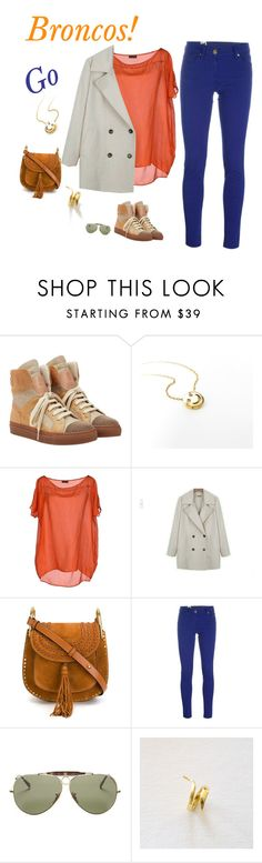 """Chic & fabulous Broncos fashion for your Super Bowl party."" by adeboutique ❤ liked on Polyvore featuring Brunello Cucinelli, Fred Perry, Fashion Street, Chloé, M Missoni and Ray-Ban"