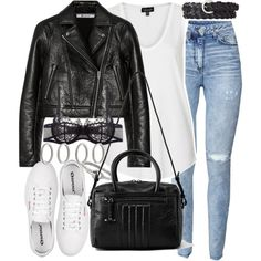 Untitled #16851 by florencia95 on Polyvore featuring Topshop, T By Alexander Wang, H&M, I.D. SARRIERI, AllSaints, Forever 21, Acne Studios, Express and Superga