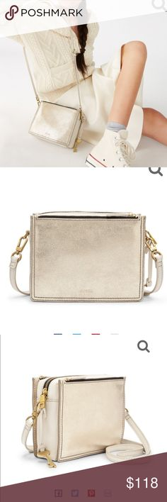979a37a37e Fossil Campbell metallic gold   white leather bag SO CUTE! I ve used it