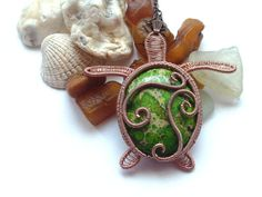 Copper Wire Wrapped Green Sediment Sea by DragonflyHJewellery