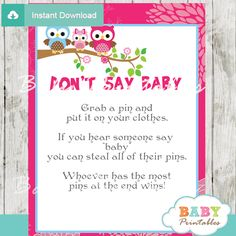 Hot Pink Owl Family Baby Shower Games