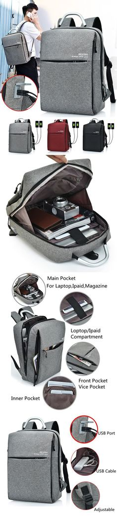 【$ 40.32】 15.6 Inch Multi Pocket Dacron Backpack Solid Laptop Bag With Dual USB Charger & Rain-Proof Cover